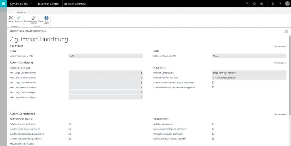 Einrichtung Zahlungsimport (Screenshot)