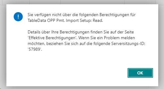 Screenshot Fehlermeldung